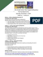 saturday training itinerary nov 1 2014