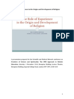 The role of experience in the origin and development of religion
