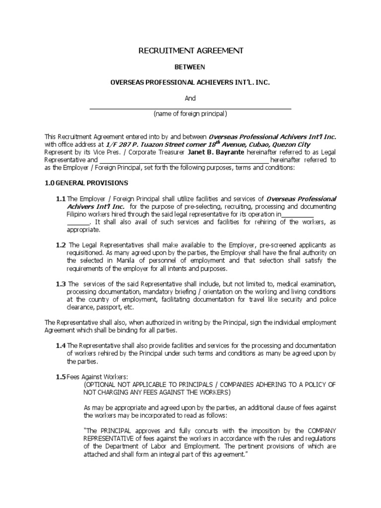 Recruitment Agreement | Law Of Agency | Employment
