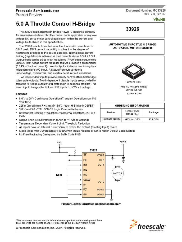 Mosfet Puente H Motor Mc33926pdf Electronic Circuits Fet Bridge Circuit Diagram