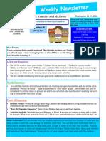 Weekly Newsletter September 14-18, 2014