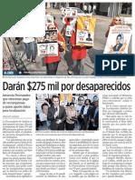 25-10-2014 Darán $275 mil por desaparecidos