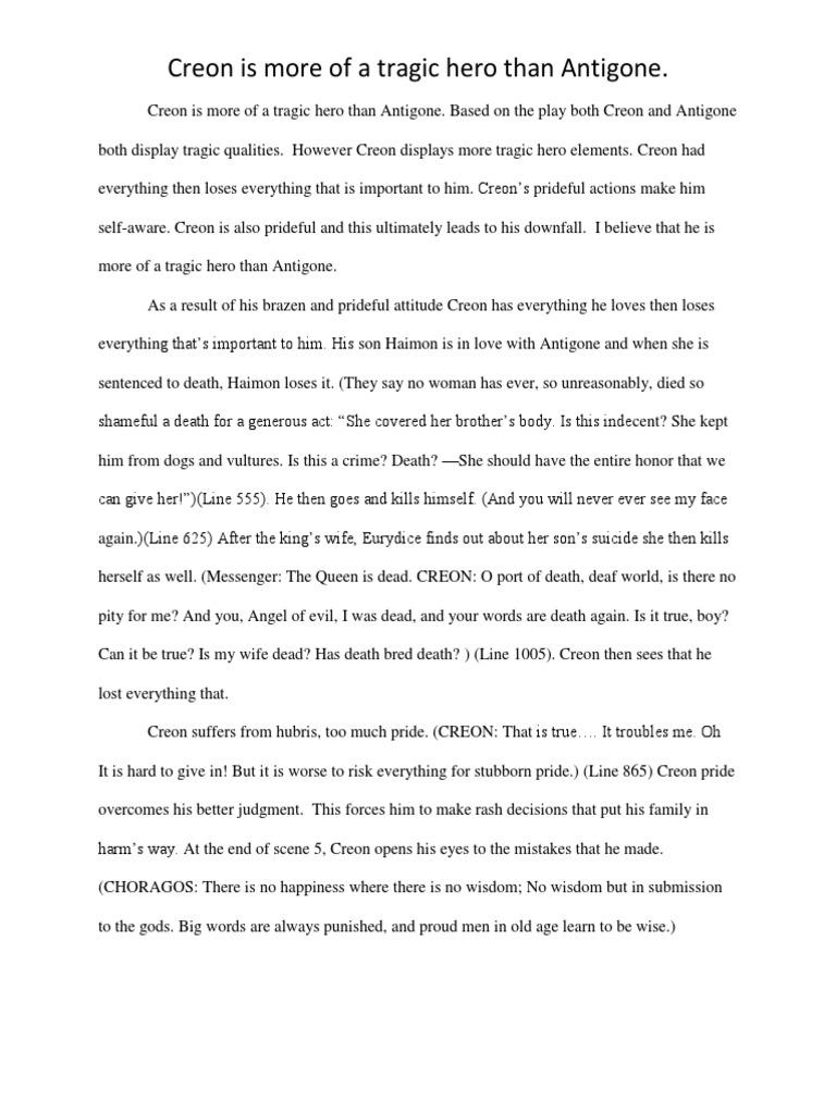 antigone hubris essay