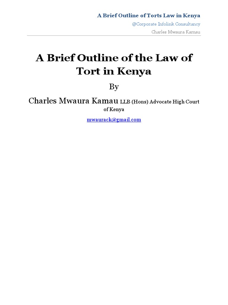 Law of Torts in Kenya | Tort | Negligence