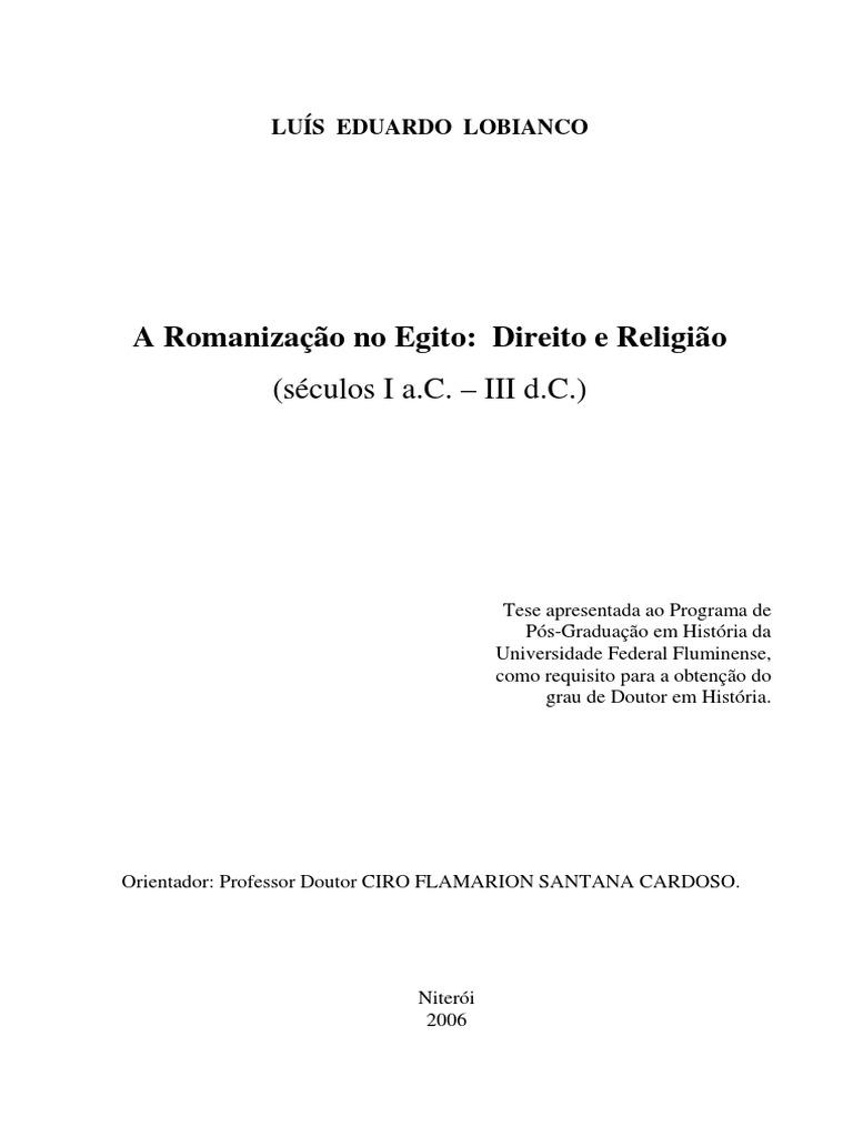 6c26e973ebc (Tese)LOBIANCO - Romanização no Egito - direito e religião.pdf