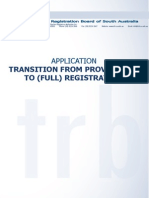 applicaton transition from provisional to full registration