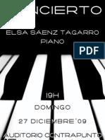 PROGRAMA DE MANO - CONCIERTO DE PIANO DE ELSA SÁENZ TAGARRO
