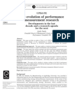 Neely 2005 the Revolution of Performance Measurement Research