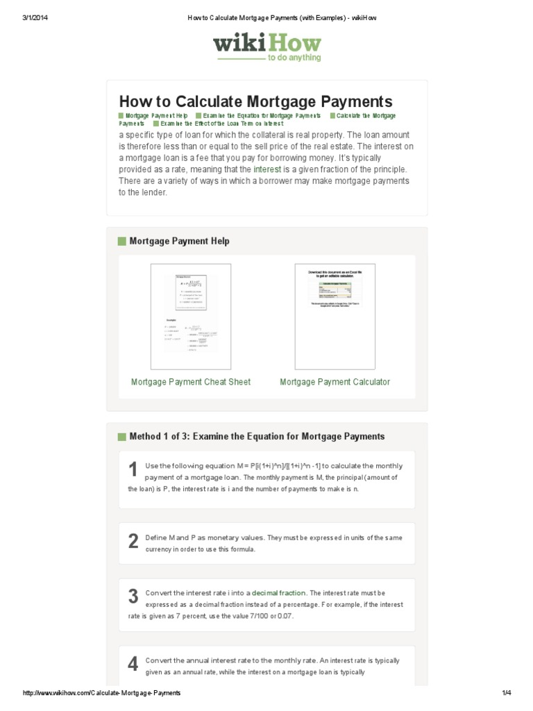 how to calculate mortgage payments with examples interest