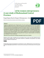 Challenges Faced by Women Entrepreneurs a Case Study of Mashonaland Central Province
