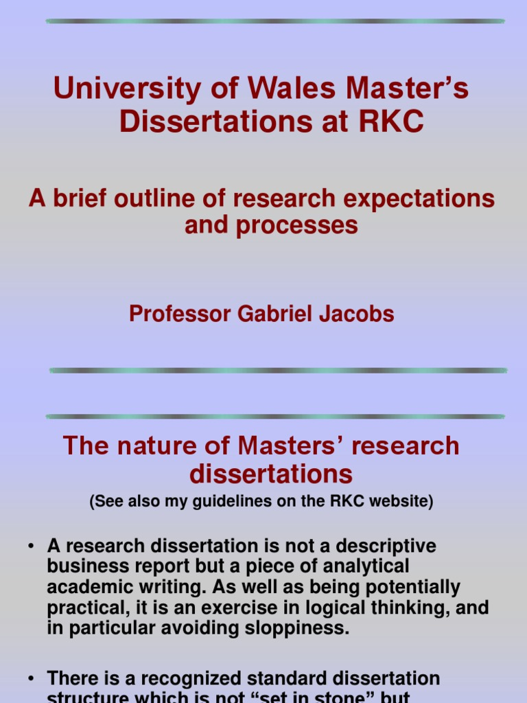 Dissertation requirements document