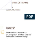 Clinical reasoning for Nursing students - Glossary of terms