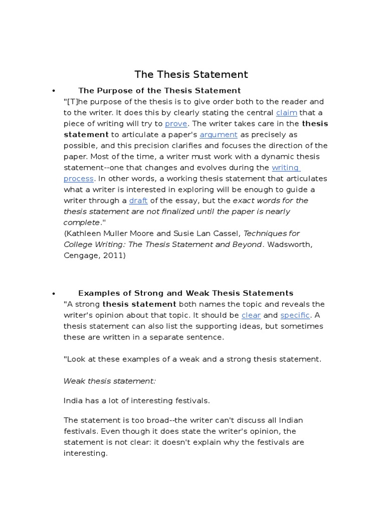 examples of strong and weak thesis statements
