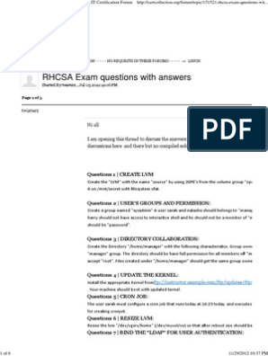 RHCSA Exam questions with answers - LINUX - IT Certification