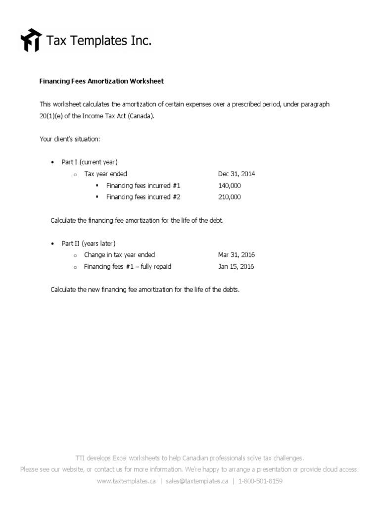 Financing Fees Amortization Worksheet Public Finance – Amortization Worksheet