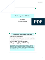 201 Definitions of Enthalpy Changes