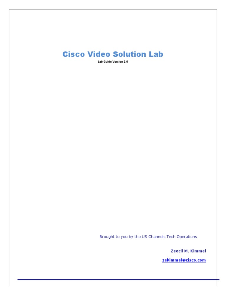 Cisco Video Solution Lab Guide pdf | Session Initiation