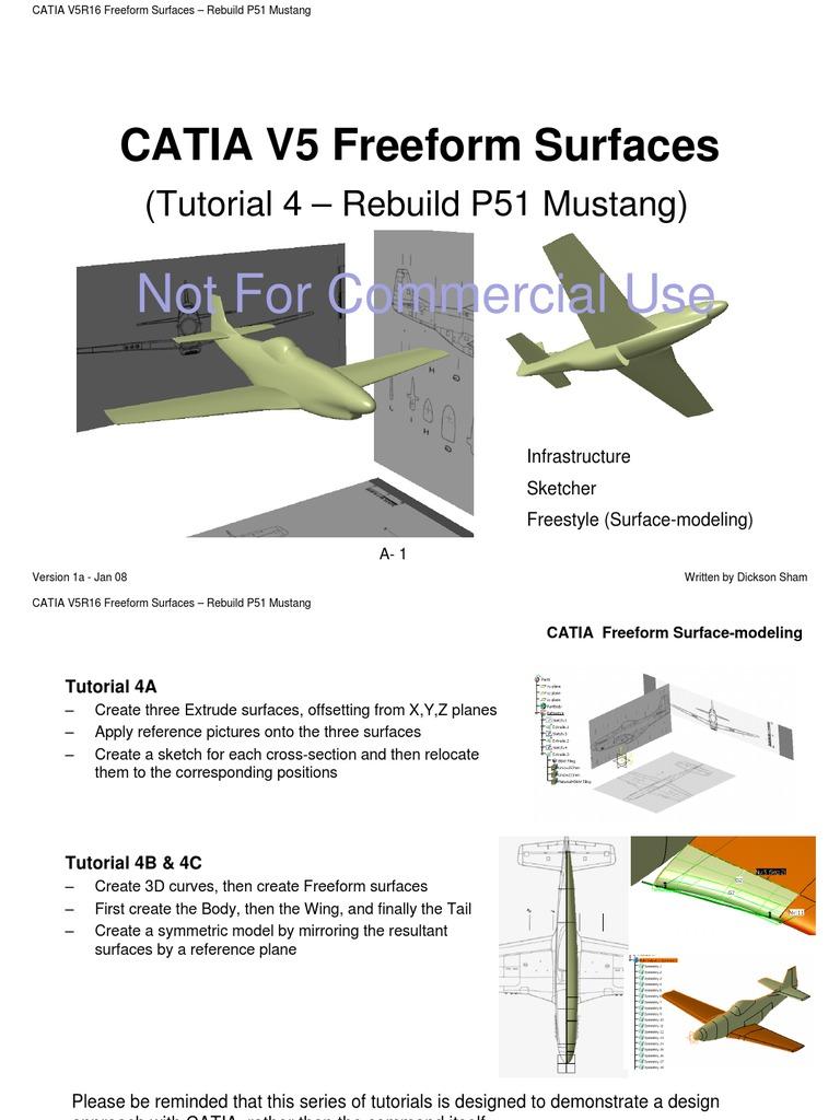 CATIA V5R16 Freeform Surfaces – Rebuild P51 Mustang   Texture ...