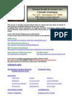 Mental Health Bulletin No 233 December 21st 2009