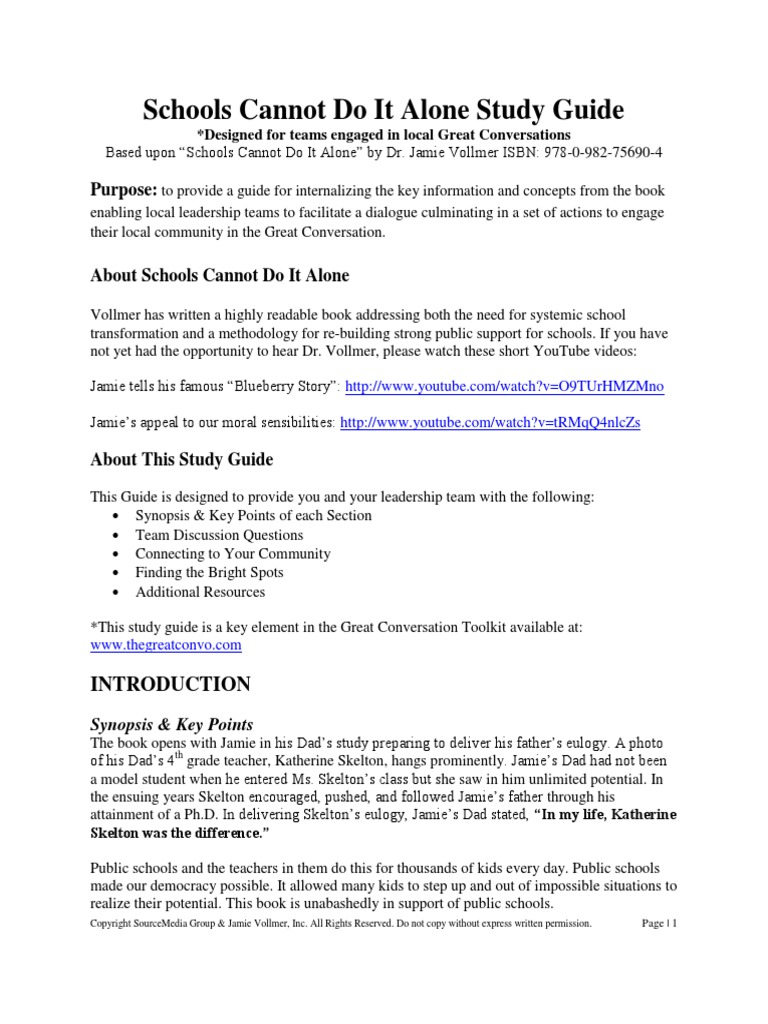 Schools Cannot Do It Alone Study Guide Final | Copyright | Home Economics