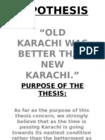Karachi Hypothesis