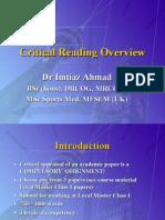 Drug CriticalAppraisalOverviewDrImtiazAhmad