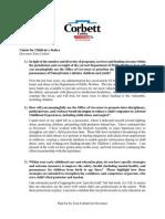 2014 PA Gov. Tom Corbett on Child Protection in Pennsylvania - Center for Children's Justice 2014 Gubernatorial Questionnaire - Corbett Reply 28Oct14