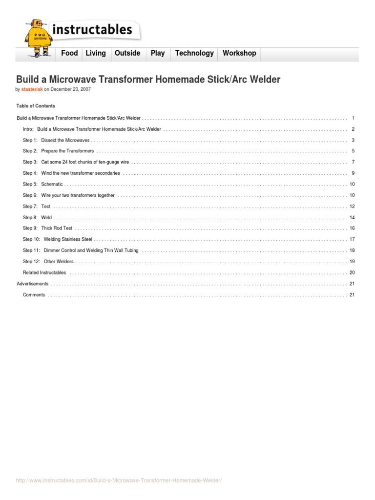 Build A Microwave Transformer Homemade Welder Welding Arc Diagram Inverter