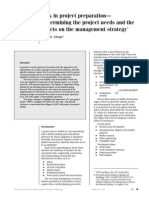 Risk in Project Preparation—Detemining Project Needs and Effects on the Management Stratergy
