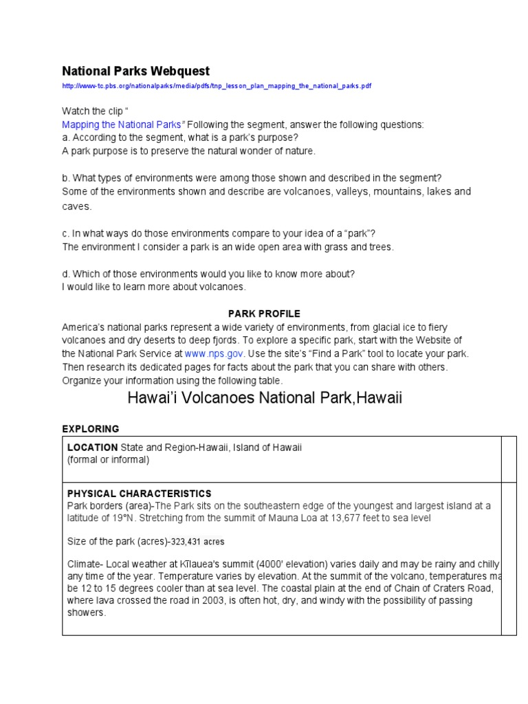 Nationalparkswebquest geography earth sciences sciox Images