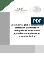 Lineamientos para la acreditación, promoción y certificación anticipada de alumnos con aptitudes sobresalientes en educación básica