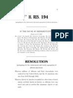 House Resolution 194 ahsia