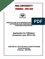 Application for Affiliation 2014-2015