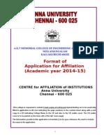 Application for Affiliation - 2014-15