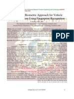 A Study of Biometric Approach for Vehicle Security System Using Fingerprint Recognition