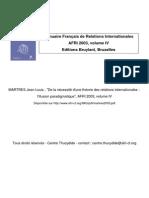 De La Nécessité D_une Théorie Des Relations InternationalR