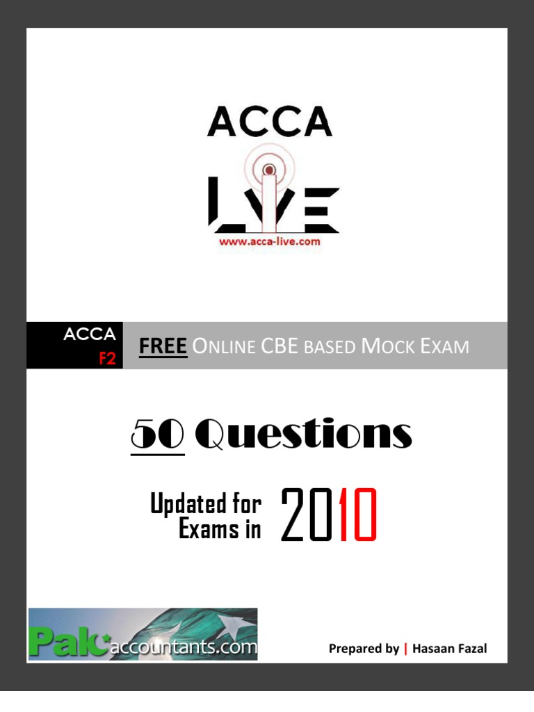 www acca-live com | ACCA - F2 Management Accounting CBE