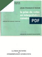 J.-f. ROZAN - La Prise de Notes en Interprétation Consecutive
