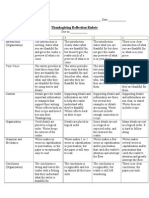 rubric for reflection piece