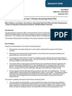 Process Evaluation of the Year 1 Phonics Screening Check Pilot
