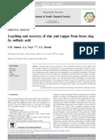 Lixiviación y Recuperación de Zinc y Cobre de a Partir de Escoria de Latón Por Medio de Acido Sulfúrico