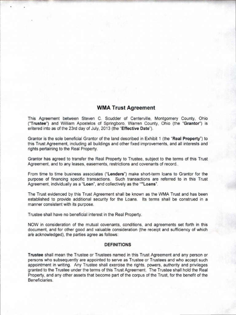Land Trust Agreement Mortgage Law Trust Law