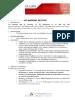 Job Description of Managing Director