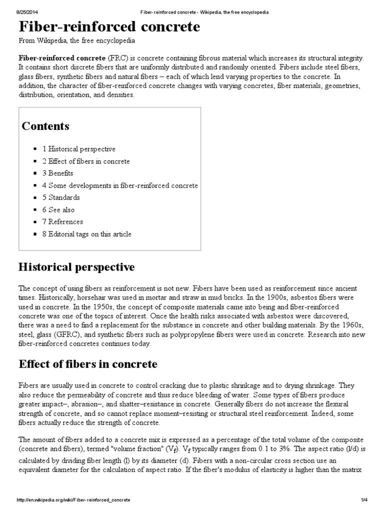 Fiber-reinforced Concrete - Wikipedia, The Free Encyclopedia