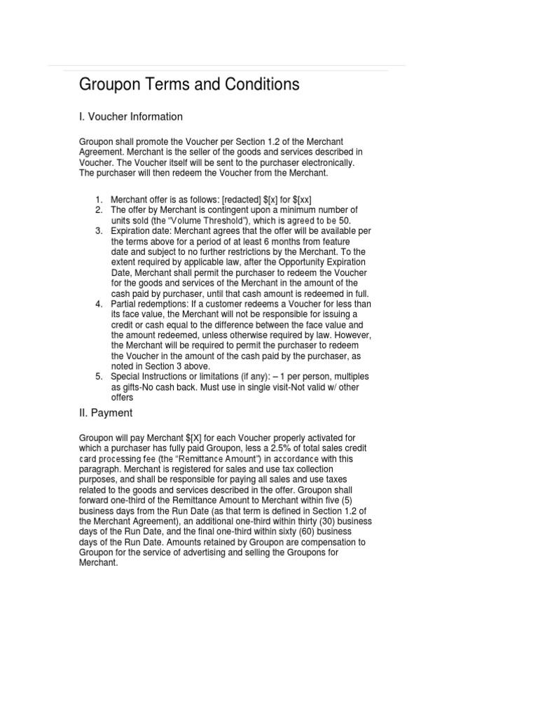 Merchant Agreement Gift Card Contractual Term