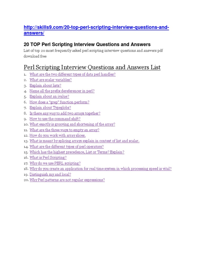perl scripting interview questions and answers