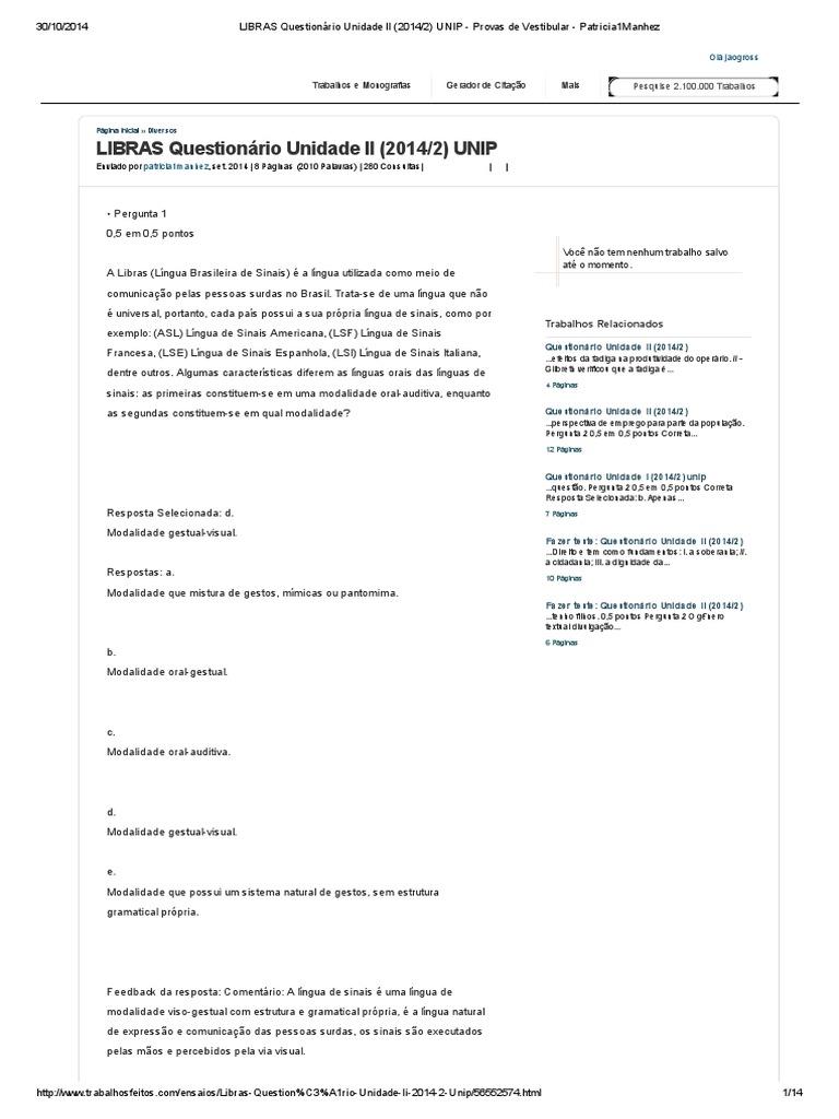 Conhecido LIBRAS Questionário Unidade II (2014_2) UNIP RN71