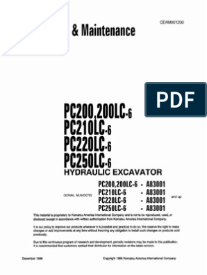 Komatsu PC200-6 CEAM001200 Operation & Maintenance Manual | Safety