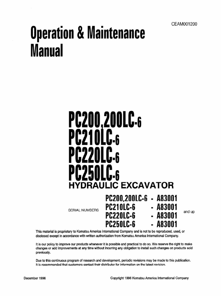Komatsu PC200-6 CEAM001200 Operation & Maintenance Manual | Safety |  Traffic Collision