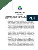 Comunicado aclaraciones técnicas a la propuesta IU